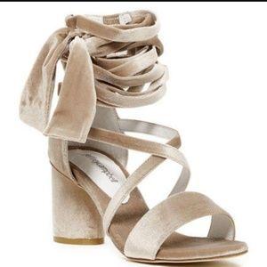JEFFREY CAMPBELL tan velvet heels